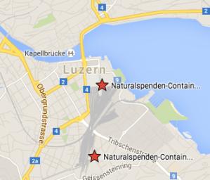 Standorte Naturalspende- Container Caritas Luzern